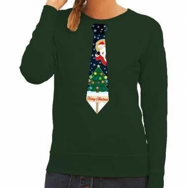 Lelijke kerst sweater kerstmis stropdas groen dames