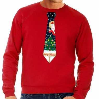 Lelijke kerst sweater kerstmis stropdas rood heren