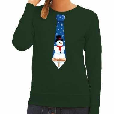 Lelijke kerst sweater sneeuwpop stropdas groen dames