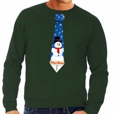 Lelijke kerst sweater sneeuwpop stropdas groen heren