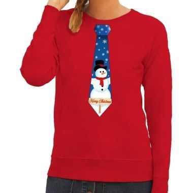 Lelijke kerst sweater sneeuwpop stropdas rood dames