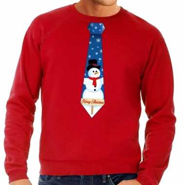 Lelijke kerst sweater sneeuwpop stropdas rood heren