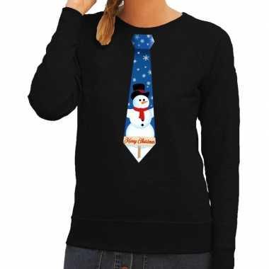Lelijke kerst sweater sneeuwpop stropdas zwart dames