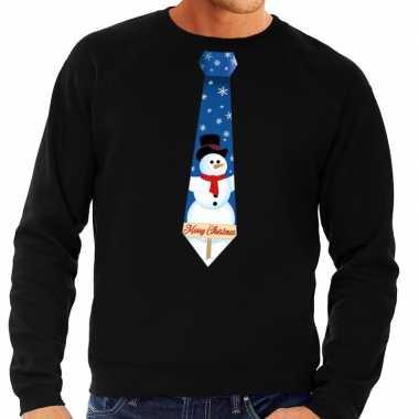 Lelijke kerst sweater sneeuwpop stropdas zwart heren