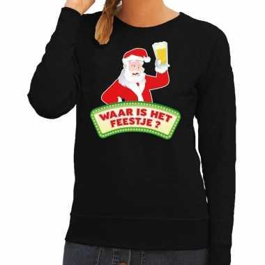 Lelijke kerst sweater zwart dronken kerstman bier dames