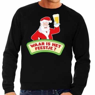 Lelijke kerst sweater zwart dronken kerstman bier heren