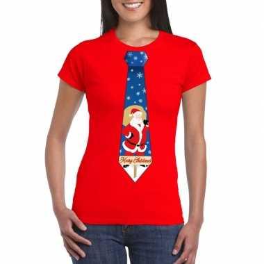 Lelijke kerst t trui kerstman stropdas rood dames