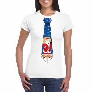 Lelijke kerst t trui kerstman stropdas wit dames