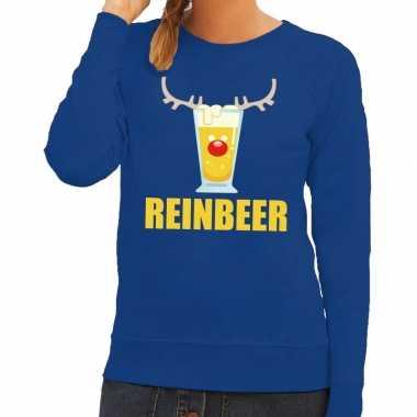 Lelijke kerstborrel trui blauw reinbeer dames