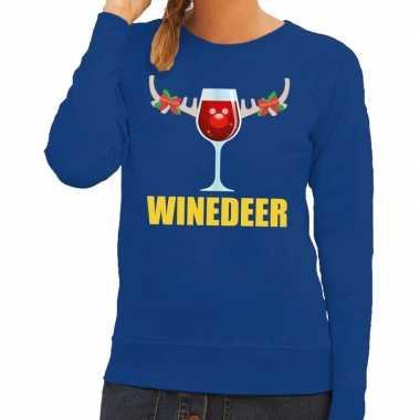 Lelijke kerstborrel trui blauw winedeer dames