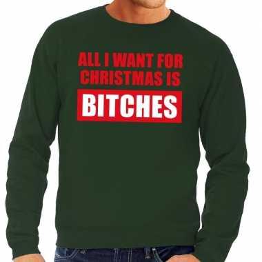 Lelijke kerstborrel trui groen all i want is bitches heren