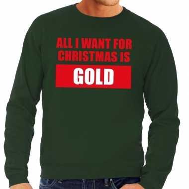 Lelijke kerstborrel trui groen all i want is gold heren