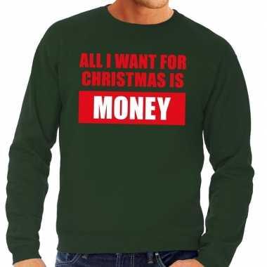 Lelijke kerstborrel trui groen all i want is money heren