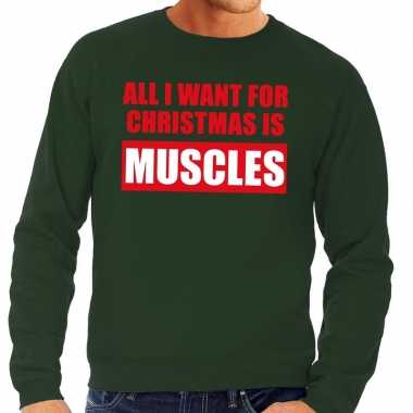 Lelijke kerstborrel trui groen all i want is muscles heren