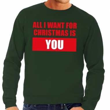Lelijke kerstborrel trui groen all i want is you heren