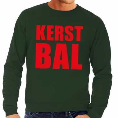 Lelijke kerstborrel trui groen kerstbal heren