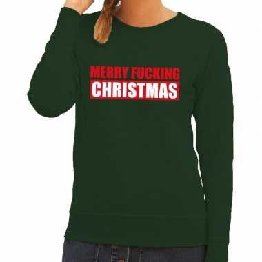 Lelijke kerstborrel trui groen merry fucking christmas dames