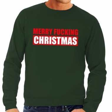 Lelijke kerstborrel trui groen merry fucking christmas heren