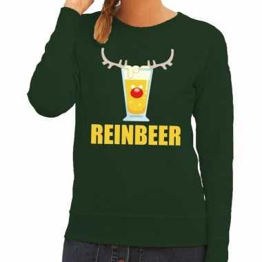Lelijke kerstborrel trui groen reinbeer dames