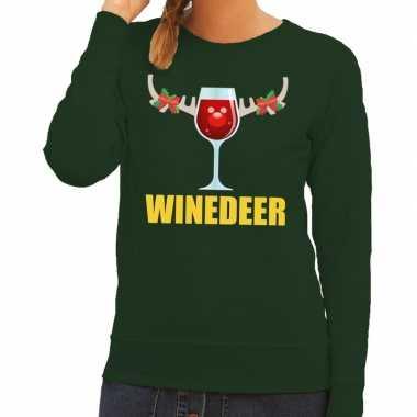 Lelijke kerstborrel trui groen winedeer dames