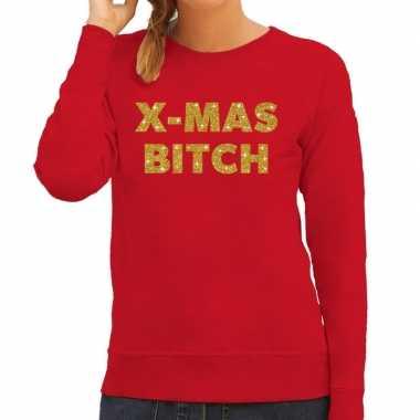 Lelijke kerstborrel trui / kersttrui christmas bitch goud / rood dames