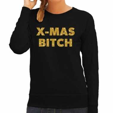 Lelijke kerstborrel trui / kersttrui christmas bitch goud / zwart dames
