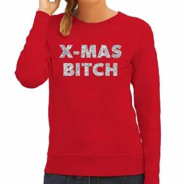 Lelijke kerstborrel trui / kersttrui christmas bitch zilver / rood dames