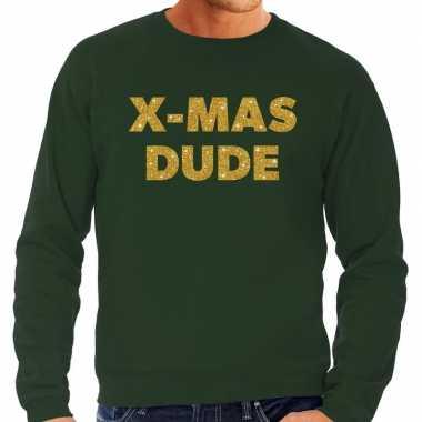 Lelijke kerstborrel trui / kersttrui x mas dude goud / groen heren
