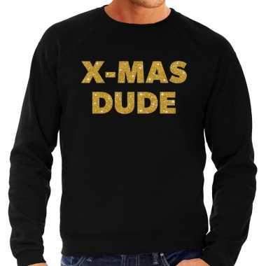 Lelijke kerstborrel trui / kersttrui x mas dude goud / zwart heren