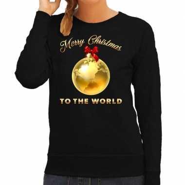 Lelijke kerstborrel trui / kersttrui merry christmas to the world zwart dames
