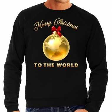 Lelijke kerstborrel trui / kersttrui merry christmas to the world zwart heren