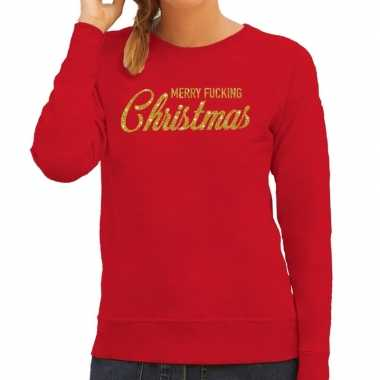Lelijke kerstborrel trui / kersttrui merry fucking christmas glitter goud rood dames