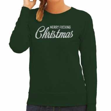 Lelijke kerstborrel trui / kersttrui merry fucking christmas glitter zilver groen dames