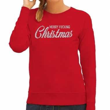 Lelijke kerstborrel trui / kersttrui merry fucking christmas glitter zilver rood dames