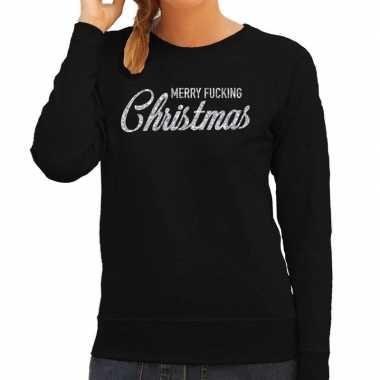 Lelijke kerstborrel trui / kersttrui merry fucking christmas glitter zilver zwart dames