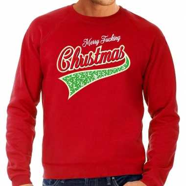 Lelijke kerstborrel trui / kersttrui merry fucking christmas rood heren