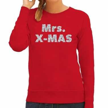 Lelijke kerstborrel trui / kersttrui mrs. x mas zilver / rood dames