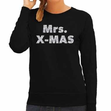 Lelijke kerstborrel trui / kersttrui mrs. x mas zilver / zwart dames