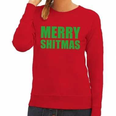 Lelijke kerstborrel trui rood merry shitmas dames