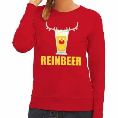 Lelijke kerstborrel trui rood reinbeer dames