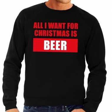 Lelijke kerstborrel trui zwart all i want is beer heren
