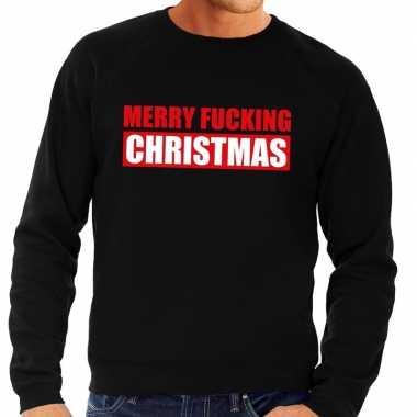 Lelijke kerstborrel trui zwart merry fucking christmas heren