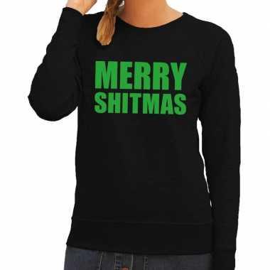 Lelijke kerstborrel trui zwart merry shitmas dames