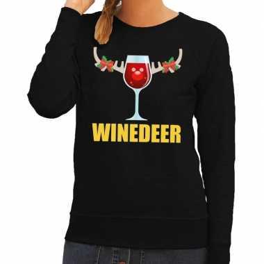 Lelijke kerstborrel trui zwart winedeer dames