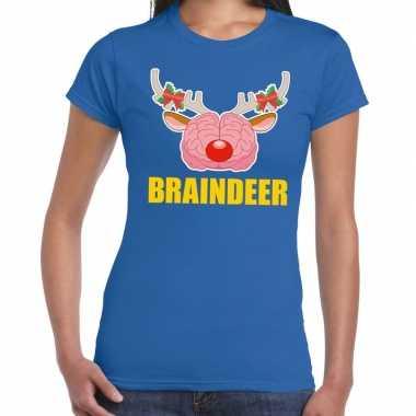 Lelijke kerstmis t trui braindeer blauw dames