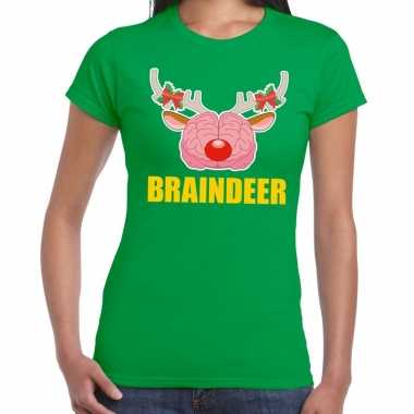 Lelijke kerstmis t trui braindeer groen dames
