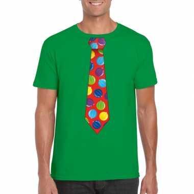 Lelijke kerstrui kerstballen stropdas groen heren