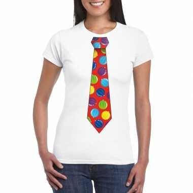 Lelijke kerstrui kerstballen stropdas wit dames