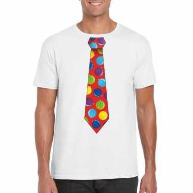 Lelijke kerstrui kerstballen stropdas wit heren