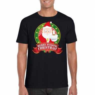 Lelijke kerstrui zwart merry fucking christmas heren